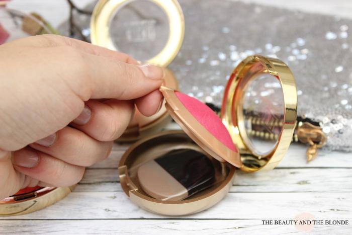 Milani Baked Blush Bella Rose geöffnet, Spiegel und Pinsel