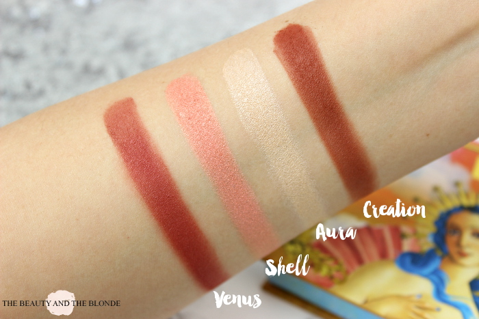 Lime Crime Venus Palette, Swatches Venus, Shell, Aura, Creation, Eyeshadows