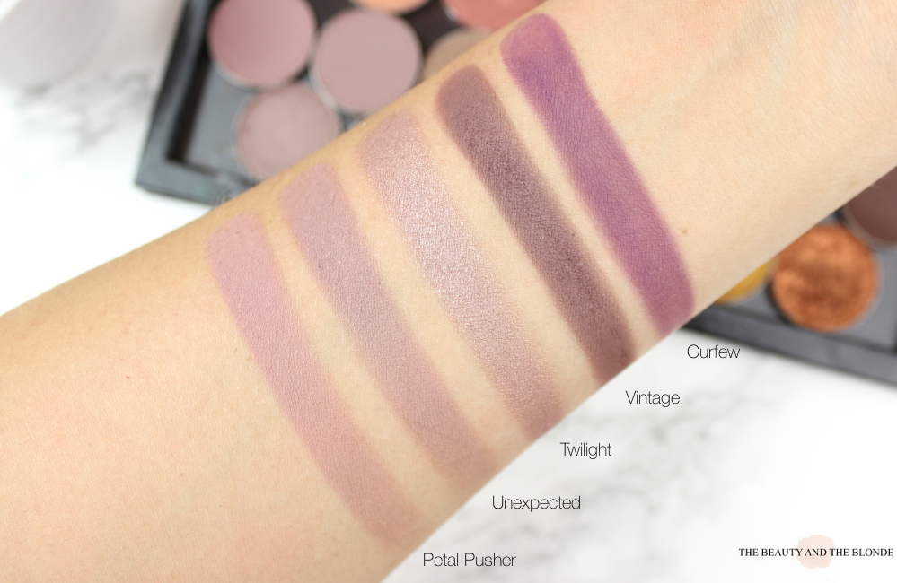 Makeup Geek Swatches: Petal Pusher, Unexpected, Twilight, Vintage, Curfew