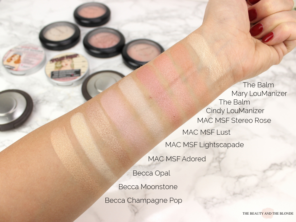 Makeup Collection Highlighter High End Swatches Becca MAC MSF The Balm Mary Loumanizer