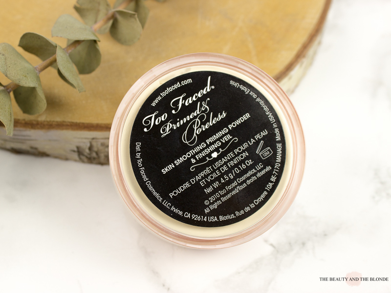 Toofaced Primed And Poreless Loose Powder Review Jar Packaging Back